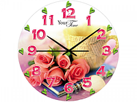 Часы настен.серия Розовая нежность стекло/кругл. 28см