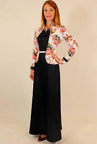 Длинное нарядное платье с цветочным пиджаком 44-48 р
