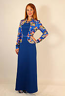 Длинное нарядное платье с цветочным пиджаком 44-50 р ( синий, белый, электрик )