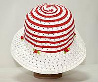 Шляпа летняя плетёная для девочки красная.