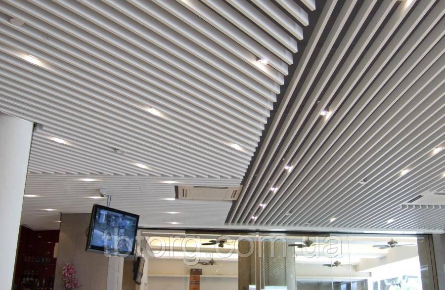 Конструкция реечного кубообразного потолка (монтаж)