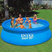 Надувной бассейн с надувным верхним кольцом Intex 28143 (396х84см)