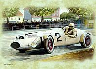 """Магніт вініловий """"Авто гонка: milky white car. by Vaclav Zapadlik № 2"""" 50х70 мм"""