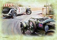 """Магніт вініловий """"Авто гонка: England flag. by Vaclav Zapadlik № 5"""" 50х70 мм"""
