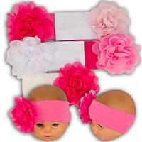 Трикотажная повязка для девочек с цветком, производитель Украина Yaaas Y49