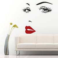 Интерьерная виниловая наклейка на стену Женское лицо (наклейки люди, самоклеющаяся пленка)