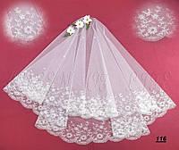 Свадебная фата с вышивкой (КВ-В-116) белая