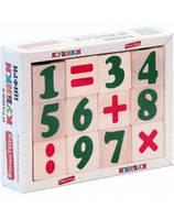 Кубики деревянные развивающие цифры, знаки (12 шт)