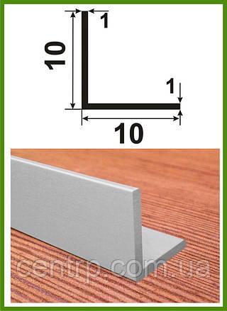"""10*10*1. Уголок алюминиевый равносторонний. Анод """"Серебро""""."""