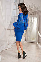 Коктейльное платье с гипюровыми рукавами