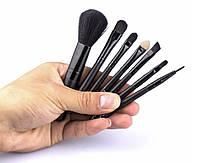 Набор мини-кистей для макияжа 7 шт., черные цвет