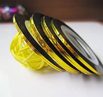 Лента золото, клейкая для дизайна 1 мм