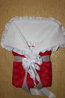 Зимний алый  конверт-одеяло для новорожденного
