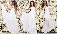 Красивое женское праздничное шифоновое платье в пол на широких бретелях с высокой талией белое
