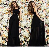 Красивое женское праздничное шифоновое платье в пол на широких бретелях с высокой талией бирюзовое черное