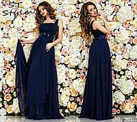 Красивое женское праздничное шифоновое платье в пол на широких бретелях с высокой талией бирюзовое темно-синего цвета