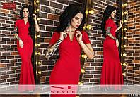 Однотонное женское платье в пол с коротким рукавом модель рыбка красное