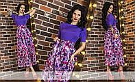 Женское удлиненное платье с цветочной шифоновой юбкой фиолетовое