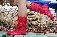 Женские летние сапоги  красные  макраме
