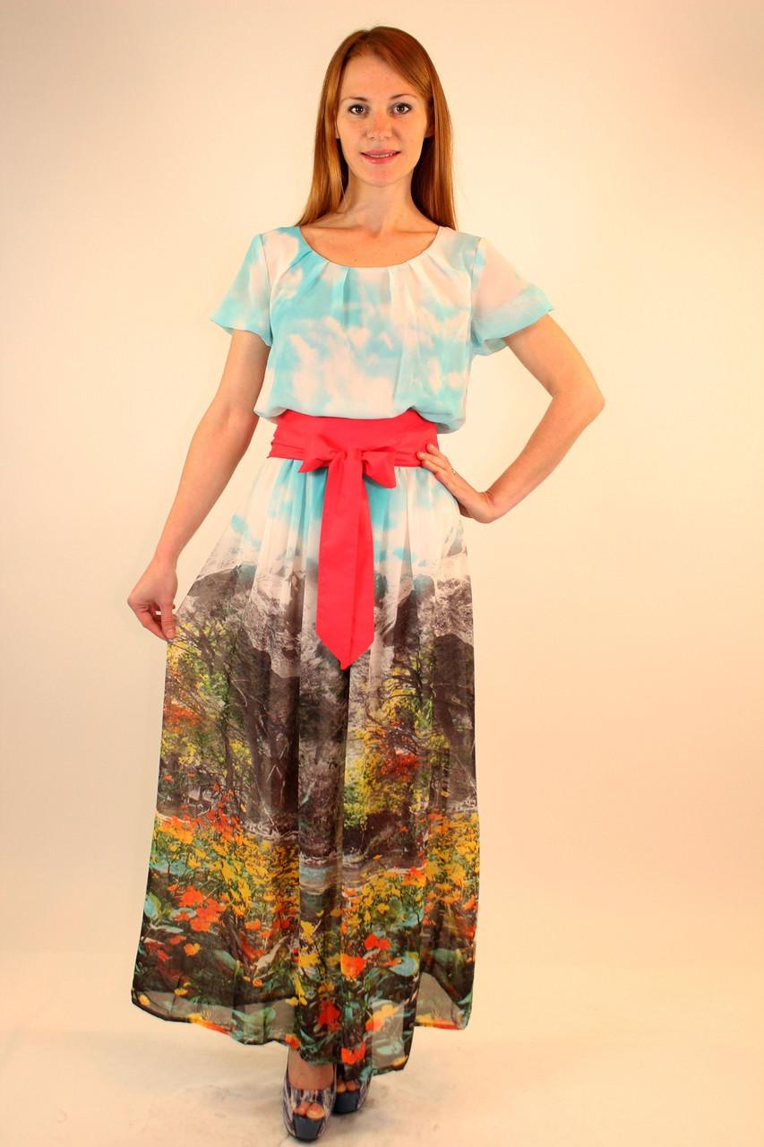 Длинное шифоновое платье с широким поясом 44-50 р