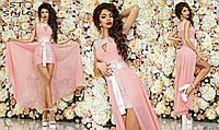 Коктейльное женское приталенное платье мини со съемной шифоновой юбкой нежно-розовое