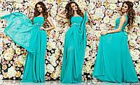 Красивое женское праздничное шифоновое платье в пол на широких бретелях с высокой талией бирюзовое тифани