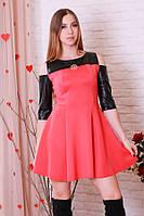Платье мини с кожаными вставками р.44-48  Y205.1