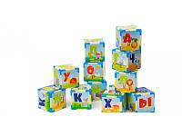 Большие Кубики  пластиковые развивающие украинский алфавит (12 шт)