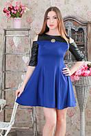 Платье мини с кожаными вставками р.44-48  Y205.3