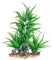 Зеленое растение для аквариума Trixie (Трикси) на каменной подложке, 28 см