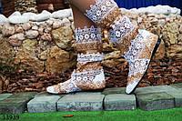 Женские летние сапоги  макраме коричневые с белым