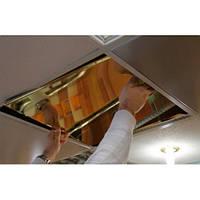 Подвесной потолок металлический кассетный. Золото