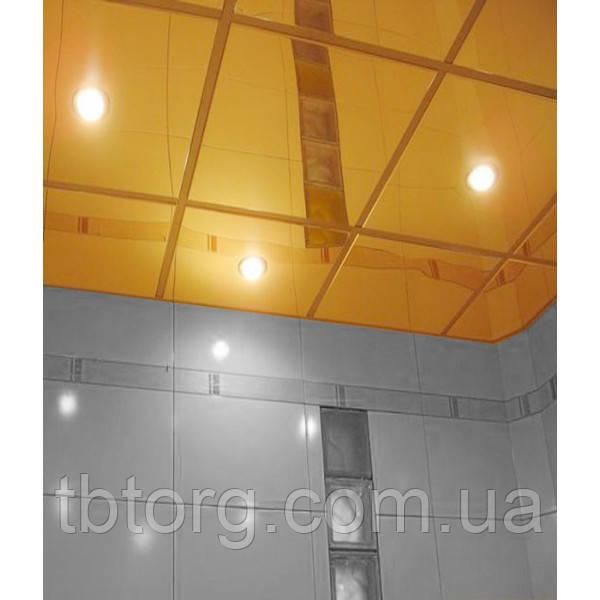Металлические плиты для подвесного потолка 600х600. Золото
