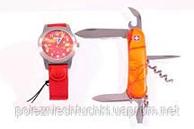 Набо часы+нож оранжевый камуфляж Wenger