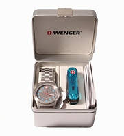 Набор часы+нож бирюзовый Wenger