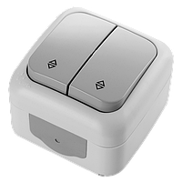 Переключатель проходной 2-х клавишный белый VIKO Palmiye (90555417)
