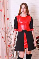 Эффектное кожаное платье красное с черным р.44-46 Y204.1