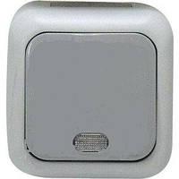 Кнопочный выключатель с подсветкой серый VIKO Palmiye (90555514)