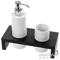 Аксессуары для ванной комнаты Gedy Стакан и емкость жидкого мыла Gedy Kelly 3399-78 цвет темно-коричневый