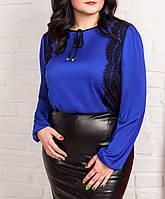 """Женская шелковая блузка """"Итель электрик"""", до 52 размера"""