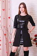 Эффектное кожаное черное платье р.44-46 Y204.2