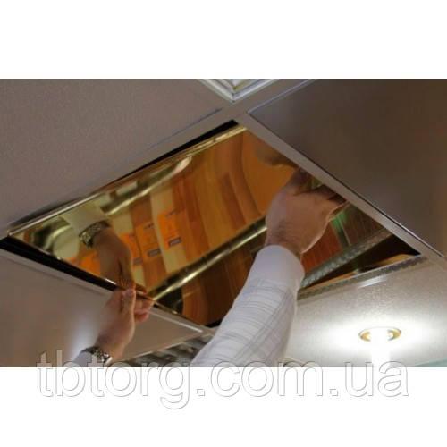 Золотые потолки в прихожей, плиты 600х600