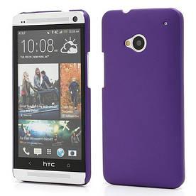 Чехол пластиковый матовый на HTC One M7 801e, фиолетовый