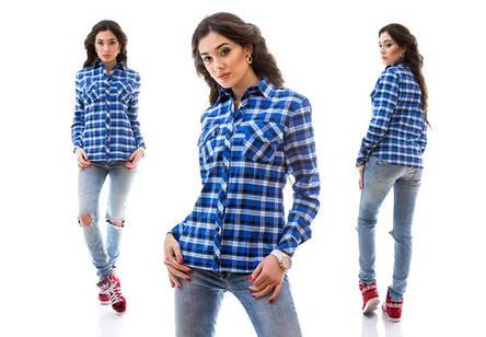 Женская клетчатая рубашка с карманами, фото 2
