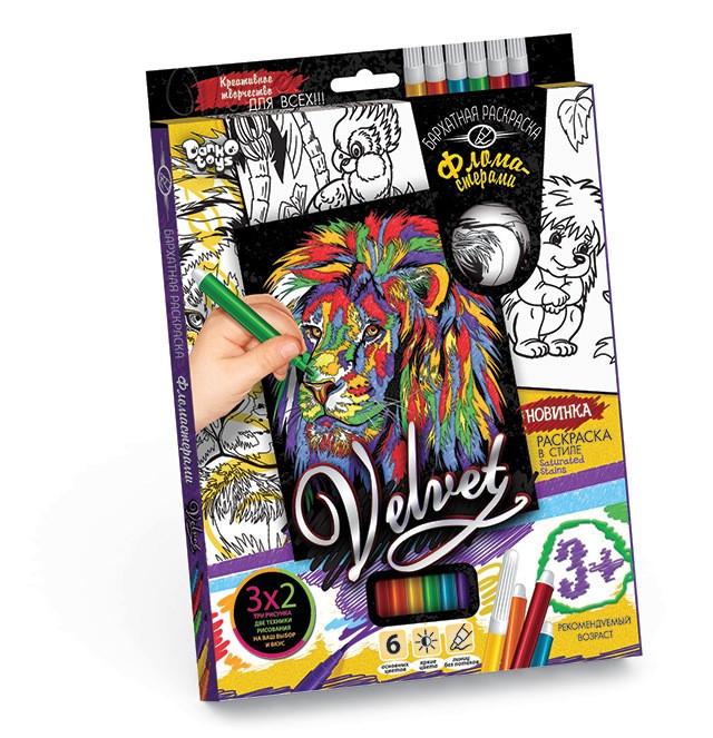 Бархатная раскраска фломастерами  VELVET Danko Toys