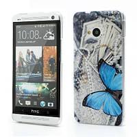 """Чехол пластиковый на HTC One M7 801e """"Голубая бабочка и украшения"""""""