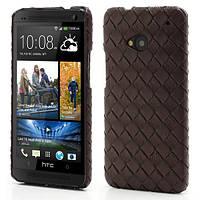 """Чехол на HTC One M7 801e """"Кожаное плетение"""", коричневый"""