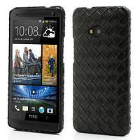 """Чехол на HTC One M7 801e """"Кожаное плетение"""", черный"""