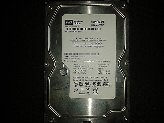 "Жесткий диск Western Digital 250Gb, WD2500AAKS, Sata 3,5"""