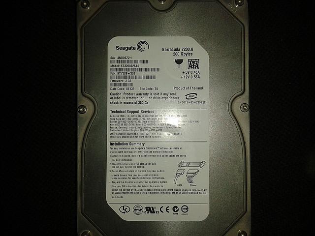 "Жесткий диск Seagate 200Gb, ST3200826AS, Sata 3,5"""